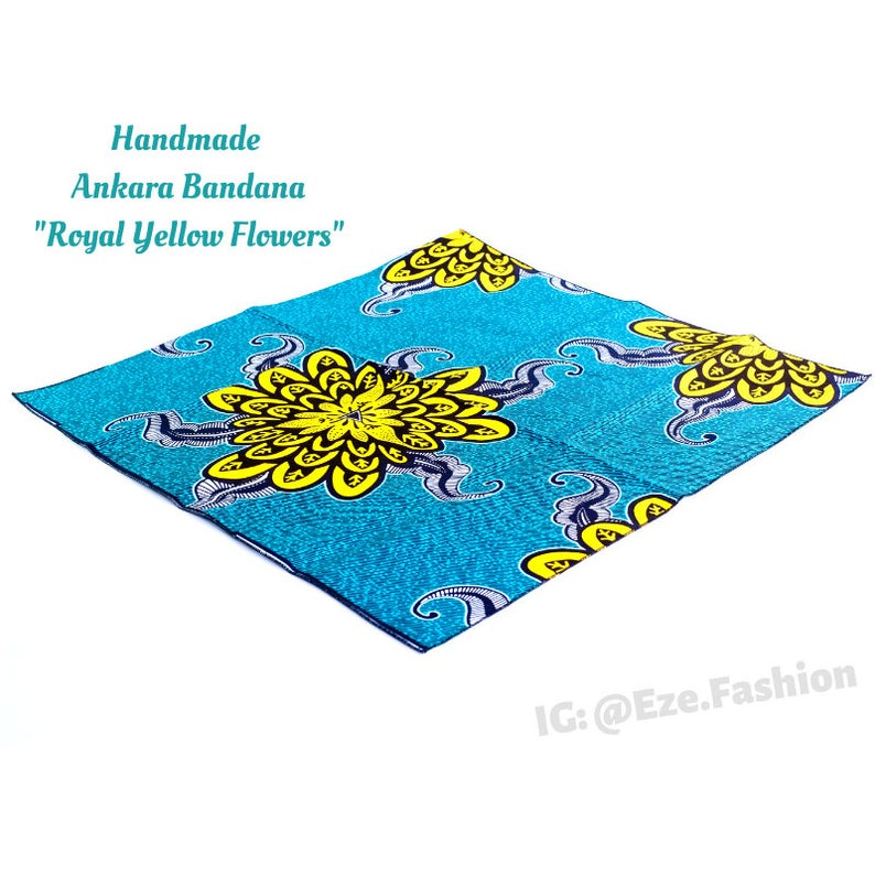 Royal Yellow Flowers! Ankara Bandana (Handmade) - ShopEzeFashionn