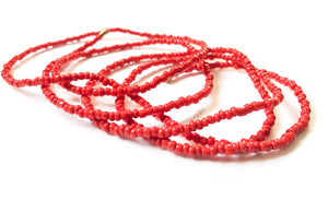 Red Coral! African Waist Beads- African Jewelry, Waist Beads, Belly Chain, Belly Chains, Belly Beads - ShopEzeFashionn