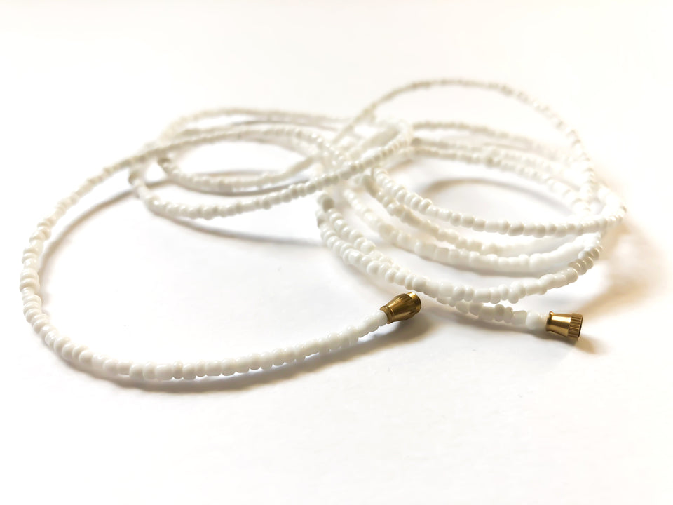 White! African Waist Beads- African Jewelry, Waist Beads, Belly Chain, Belly Chains, Belly Beads - ShopEzeFashionn