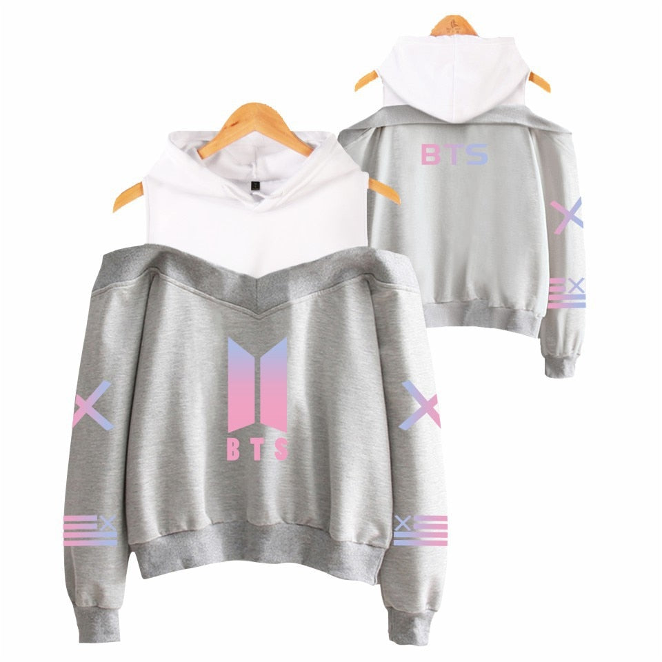 BTS Bulletproof Boys Women's off-Shoulder Hoodie
