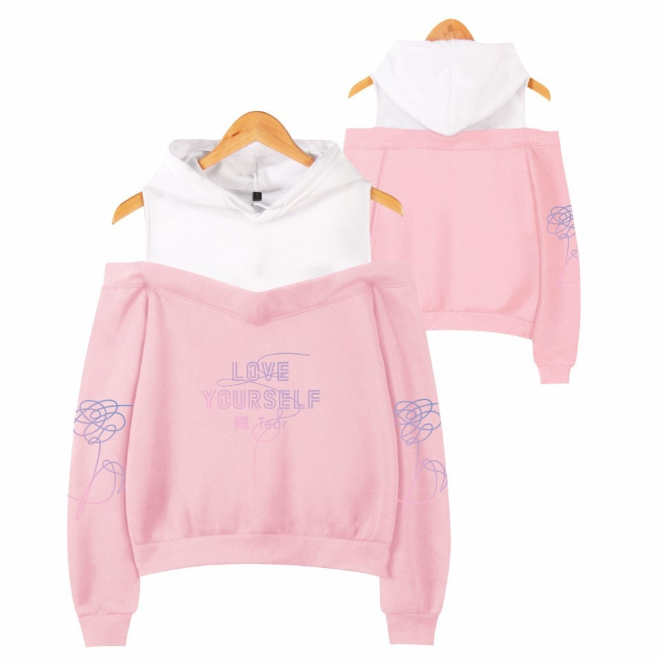 BTS Love Yourself Women's Off-Shoulder Hoodie