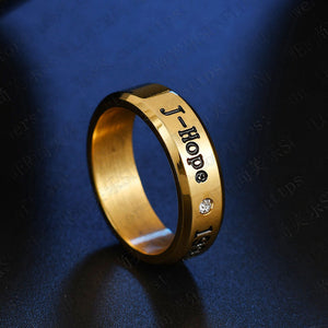 BTS Black and Gold Bias + Birthdate Ring