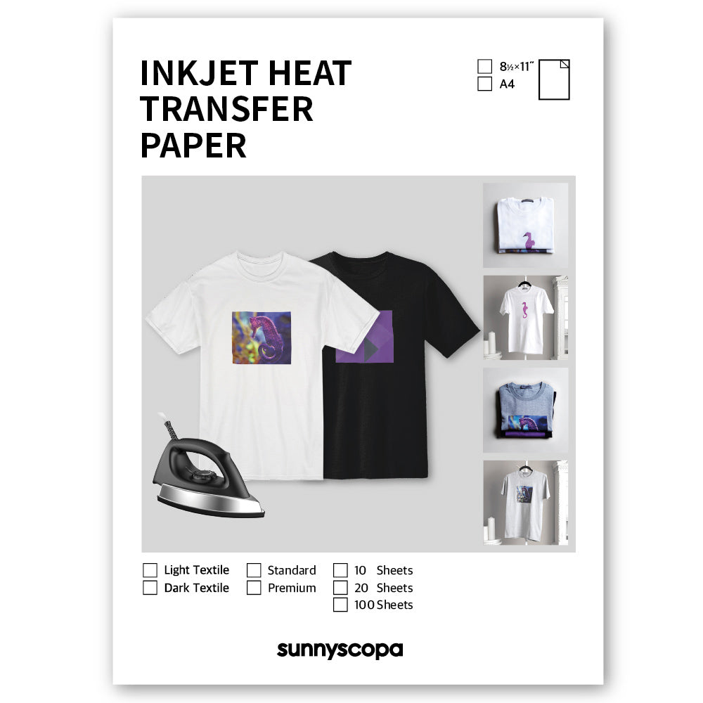INKJET HEAT TRANSFER PAPER (Light Textile)