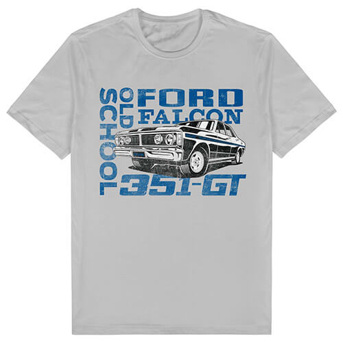 FORD FALCON 351-GT MENS TEE GREY