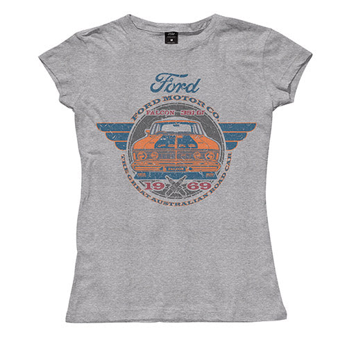 FORD LADIES 1969 FALCON TEE - GREY MARLE