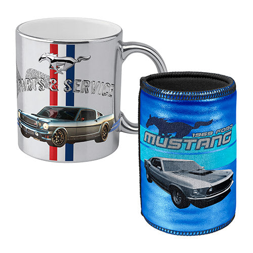 FORD 1969 MUSTANG METALLIC MUG / CAN COOLER COMBO