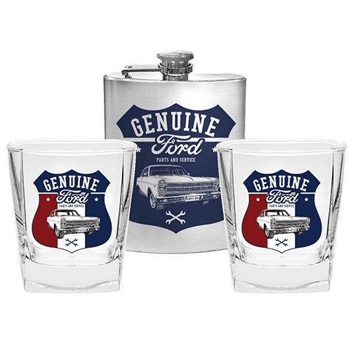 FORD SET OF 2 SPIRIT GLASSES AND FLASK