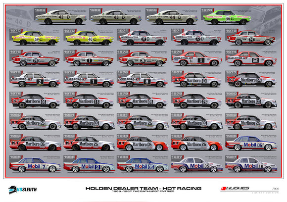 HOLDEN DEALER TEAM AT BATHURST, 1969-1987 PETER HUGHES PRINT (PRE-ORDER)
