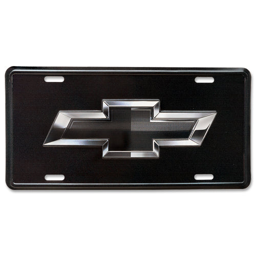 CHEVROLET BLACK BOWTIE LICENSE PLATE