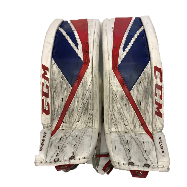 "CCM Premier II (Kitchener Rangers) - 36"" Used Pro Stock Senior Goalie Pads"