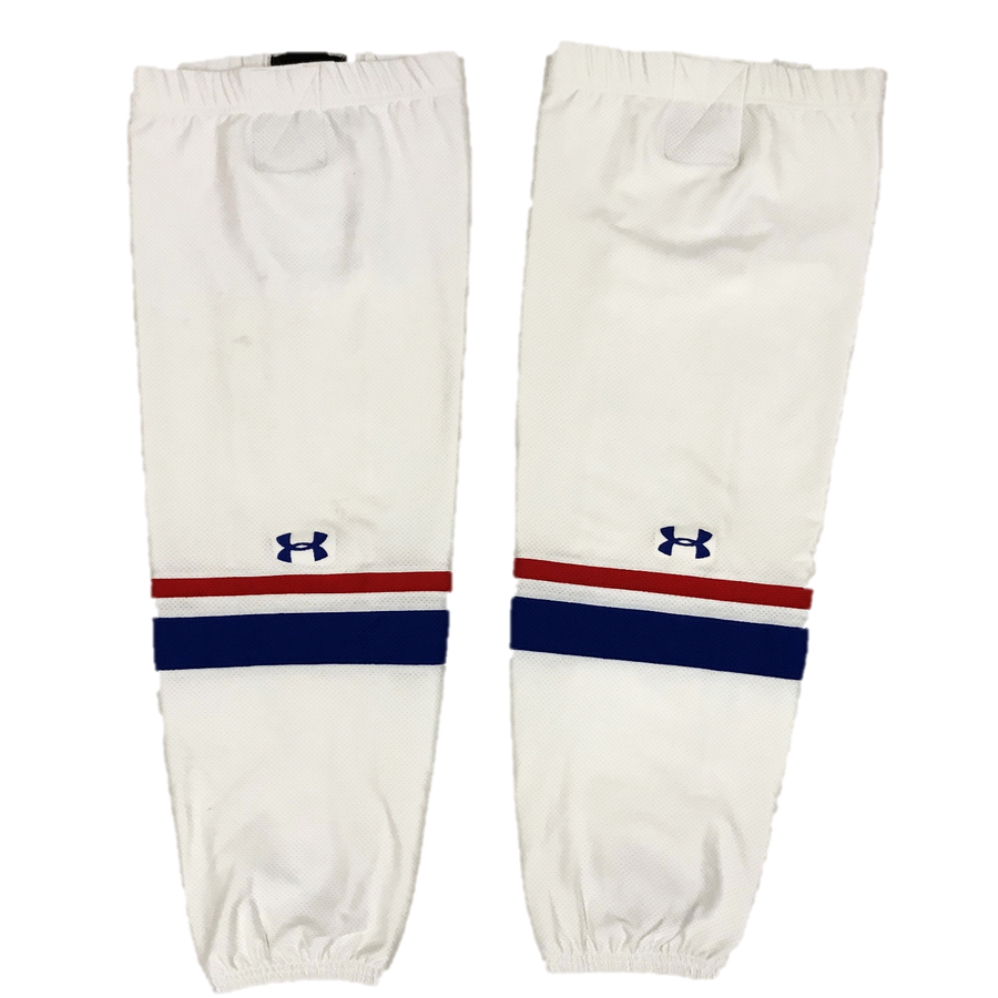 TEAM SET - Used Under Armour Pro Game Sock (UMass Lowell) - White (Thin Stripe)