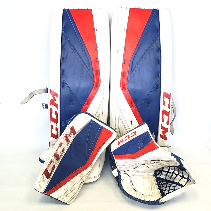 "CCM Premier II (Kitchener Rangers) - 35"" Used Pro Stock Senior Goalie Pads (Full Set)"