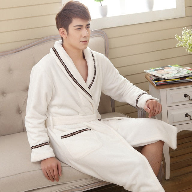 Mens/Womens Polyester Plush Bathrobe