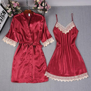 Silky Lace Nightgown and Robe Set