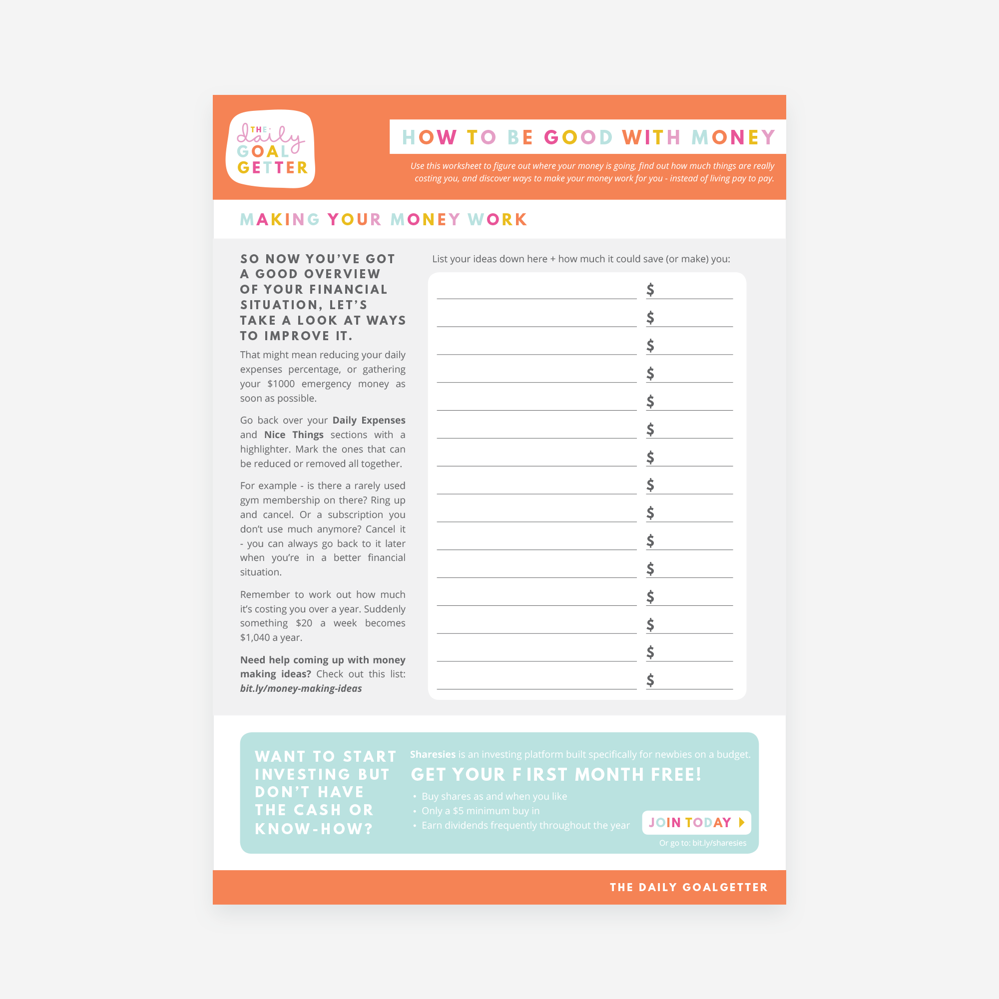How to Be Good with Money (printable/digital worksheet)