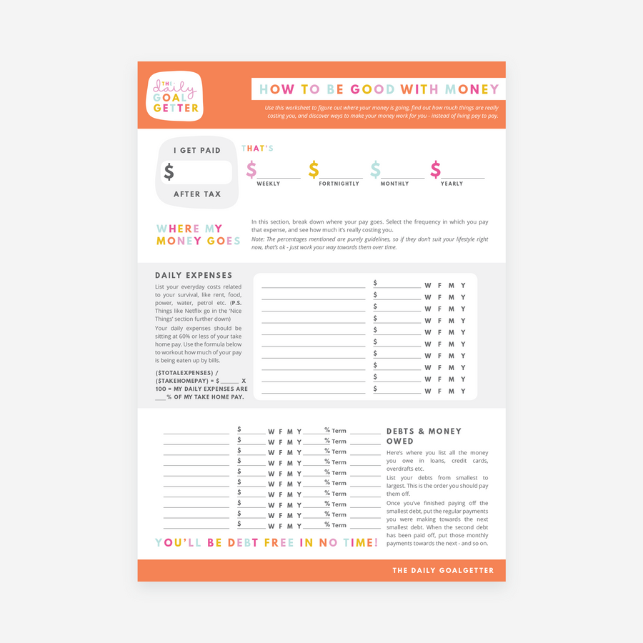 How to Be Good with Money | Printable Worksheet PDF