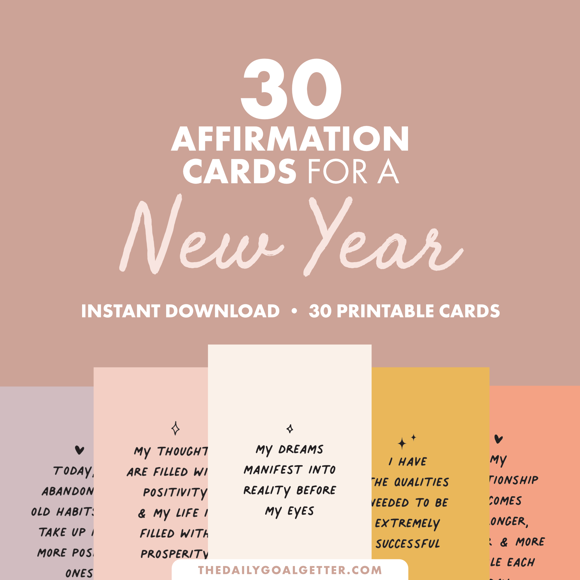 New Year Affirmations: 30 Printable Vision Board Cards