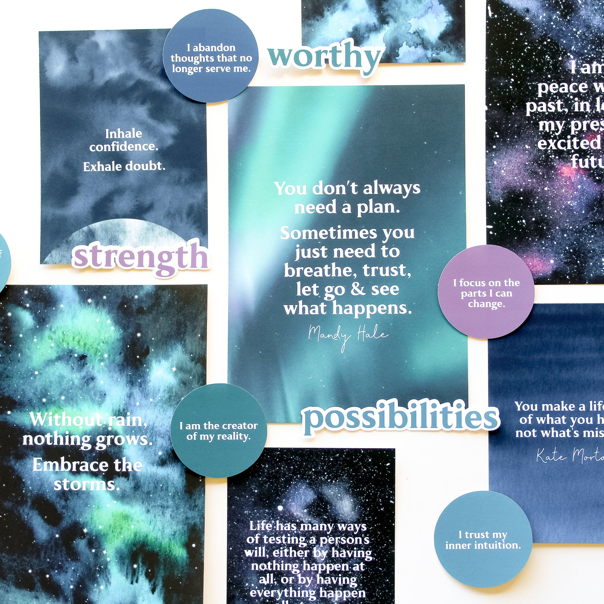 Positivity Vision Board Kit: Quotes, Words & Affirmation Cards (21 pcs)
