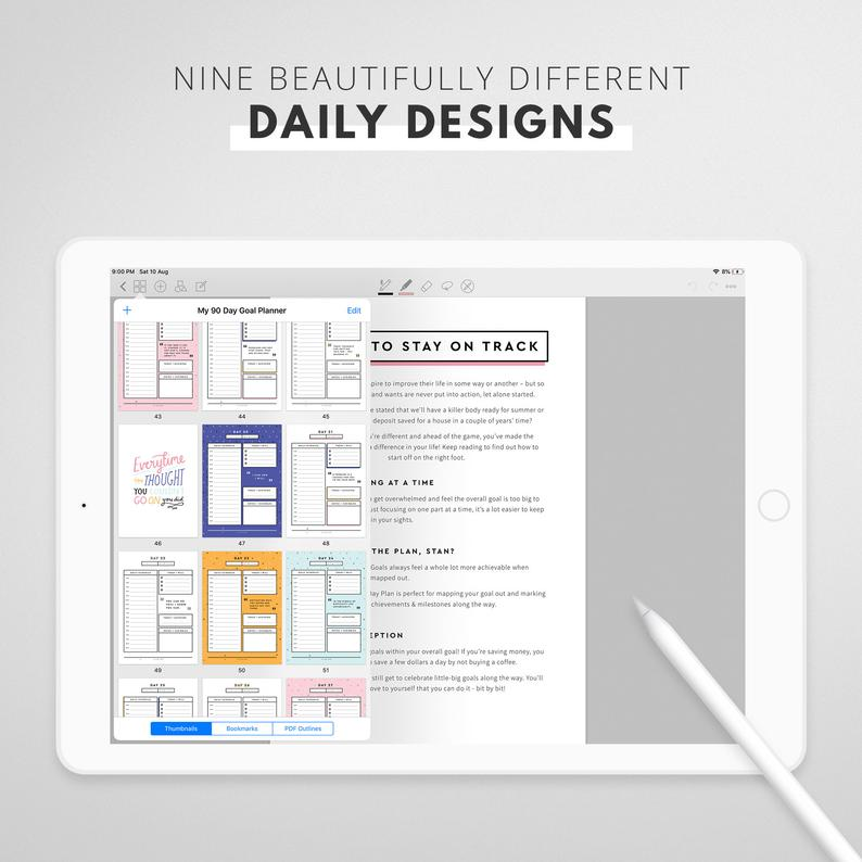 90 Day Goal Planner (Digital/Printable)