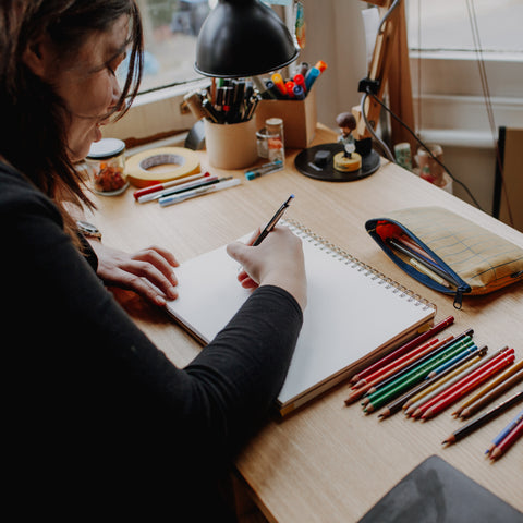 Artist Joanna Bucur in her studio photographed by Holly Smith