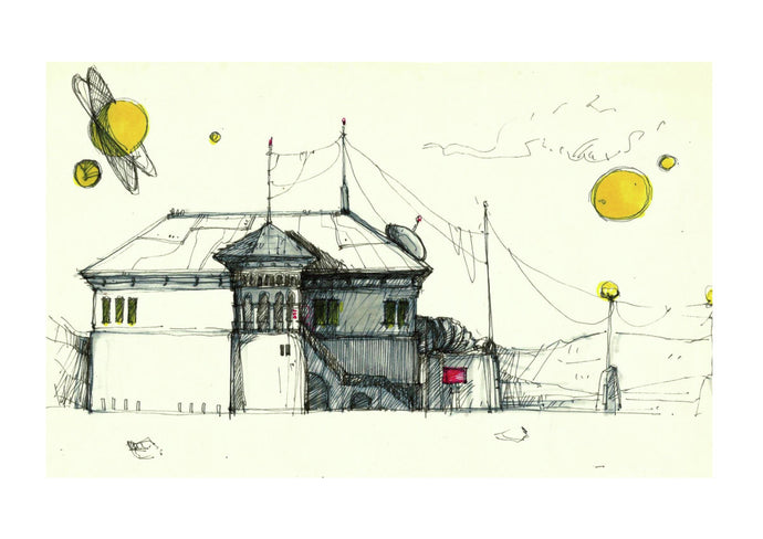 Architecture Illustration by artist Joanna Bucur imagining a settlement on Mars. This drawing represents a house in old traditional mixed with modern urban style. There are yellow planets in the sky.