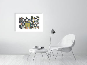 Representation of size of art print of architecture illustration called The artist and the bear by artist Joanna Bucur