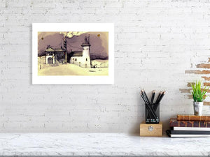 Representation of  size of art print of illustration called Martian Landscape IV by artist Joanna Bucur