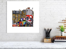 Load image into Gallery viewer, Size representation of art print of architectural illustration called New Inn Yard by artist Joanna Bucur