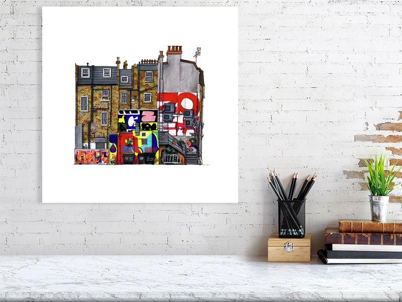 Size representation of art print of architectural illustration called New Inn Yard by artist Joanna Bucur