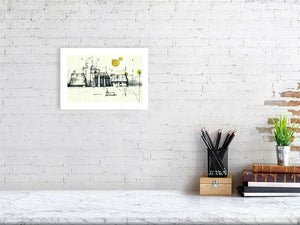 Representation of size of art print of illustration called Martian Landscape 3 by artist Joanna Bucur