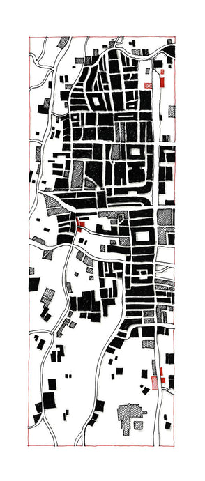 Illustration of artist Joanna Bucur of an imagined map of a city from above