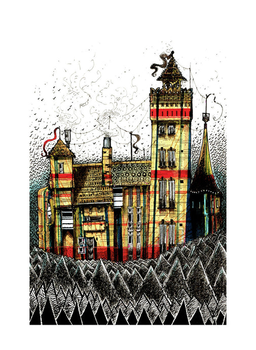 Architecture illustration by artist Joanna Bucur of a wanky castle in three colours, yellow, red and blue.
