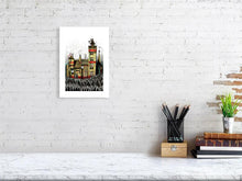 Load image into Gallery viewer, Representation of size for art print of illustration called Trichrome Castle by artist Joanna Bucur