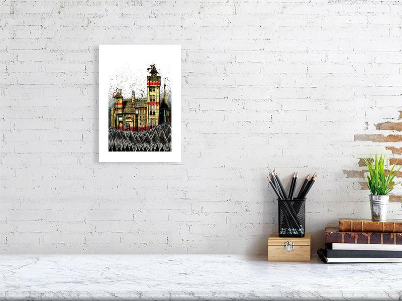 Representation of size for art print of illustration called Trichrome Castle by artist Joanna Bucur