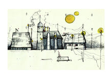 Load image into Gallery viewer, Architecture illustration by artist Joanna Bucur imagining a settlement of houses on Mars. The buildings are a combination of old traditional and modern urban architecture