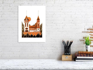 Representation of size of art print of architecture illustration called Orange Castle by artist Joanna Bucur