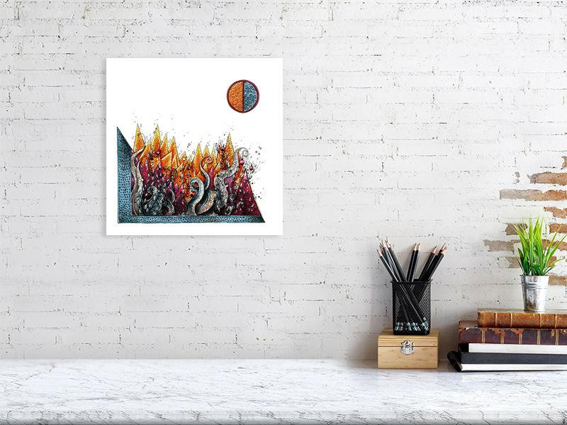Representation of size of art print of illustration called Trichrome Battlefield by artist Joanna Bucur