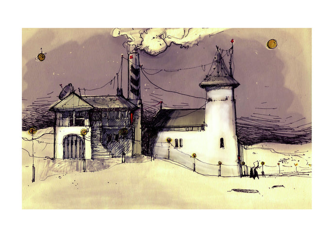 Architecture illustration by artist Joanna Bucur of an imagined settlement on Mars. The drawing illustrates a house and a church, both in a mix of old traditional and modern urban style. The houses are white and the sky is purple.