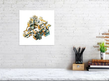 Load image into Gallery viewer, Representation of size for architectural illustration called Golden Conglomerate by artist Joanna Bucur
