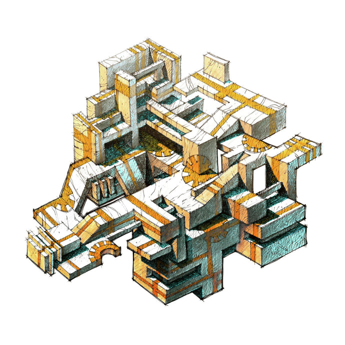 Architecture illustration by artist Joanna Bucur of a geometric conglomerate with a yellow path along its surfaces