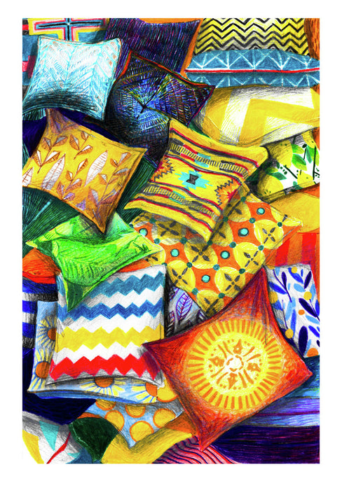 Colourful illustration by artist Joanna Bucur of a mush of patterned pillows on top of each other