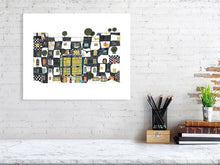 Load image into Gallery viewer, Representation of size of art print of architecture illustration called The artist and the bear by artist Joanna Bucur