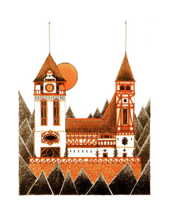Architecture illustration by artist Joanna Bucur of a traditional orange castle in the woods