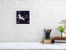 Load image into Gallery viewer, Representation of size of the art print of the illustration called Space Chill by artist Joanna Bucur