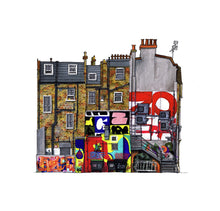Load image into Gallery viewer, Architecture Illustration by artist Joanna Bucur of a yellow brick building with street art and graffiti on its surfaces. The art represented is by Zoerism, Jeroen Erosie, Raymond Lemstra and Amose