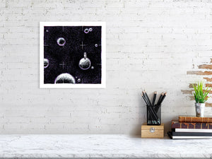 Representation of size of art print of space illustration called Space Solitude by artist Joanna Bucur