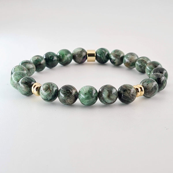 Green Lepidolite semi-precious gemstone beaded bracelet with gold plated accents.