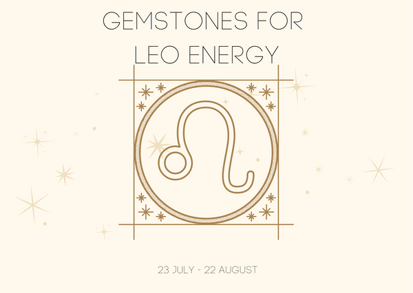 Gemstones for Leo energy. A graphic of the Leo zodiac sign symbol.