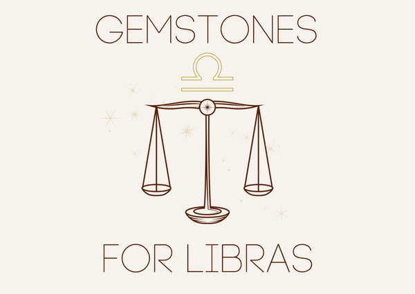 Gemstones for Libras with an illustration of balancing scales and the Libra star sign symbol.