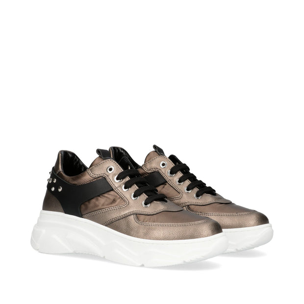 Sneakers Morelli in pelle laminata taupe con strass M4A4-51007-1114Y943